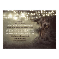 old carved tree twinkle lights rustic wedding personalized announcements