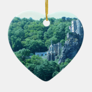 Old Castle Double-Sided Heart Ceramic Christmas Ornament