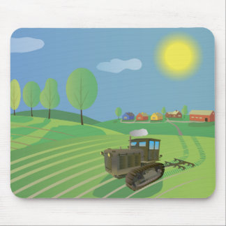 Old Caterpillar Tractor on a Farm Mouse Pad