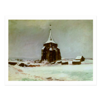 Old Cemetery Tower in Snow, Van Gogh Fine Art Postcard