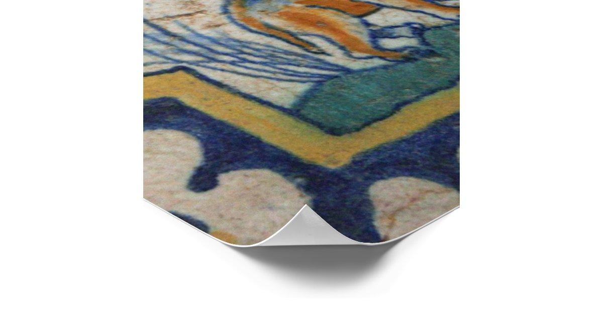 Old Ceramic Tiles Animal Kingdom Poster Zazzle