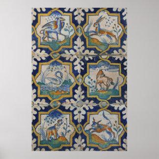 Old Ceramic Tiles Animal Kingdom Poster