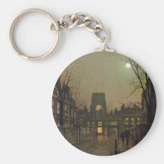 Old Chelsea by John Atkinson Grimshaw Basic Round Button Keychain
