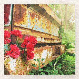 Old Chevrolet Tale Gate in Flower Garden Glass Coaster