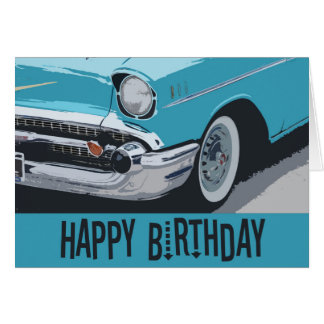 Old Chevy birthday in blue. Card