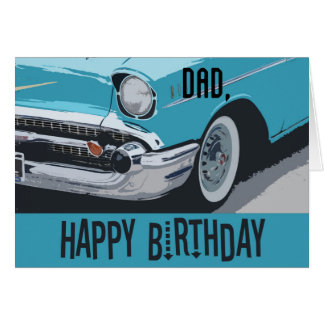 Old Chevy birthday in blue for any Dad. Card