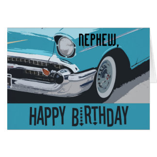 Old Chevy birthday in blue for any nephew. Card