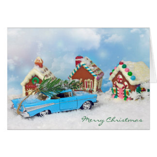 old Chevy car with Christmas tree Card