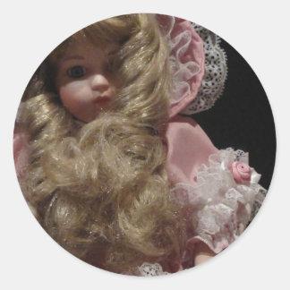 Old Child's Doll Round Sticker