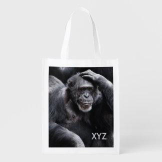 Old Chimpanzee custom monogram reusable bag