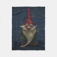 Old Christmas Gnome Small Fleece Blanket