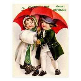 Old Christmas Image Victorian Children & Umbrella Postcard