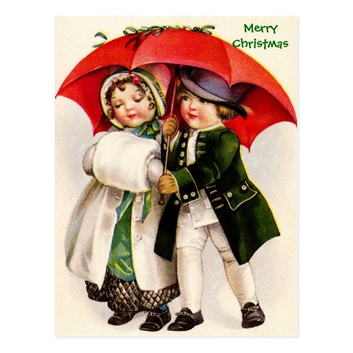 Old Christmas Image Victorian Children & Umbrella Post Card