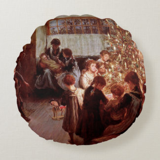 Old Christmas Round Pillow