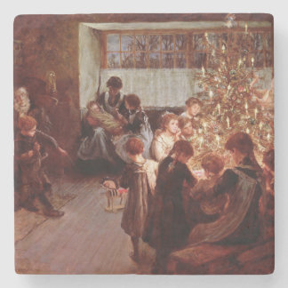 Old Christmas Stone Coaster