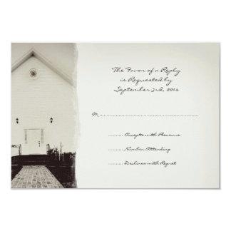 Old Church Vintage Wedding RSVP 3.5x5 Paper Invitation Card