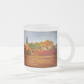 Old Church with Fall Colors Frosted Glass Coffee Mug