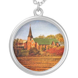 Old Church with Fall Colors Necklace