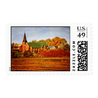 Old Church with Fall Colors Postage