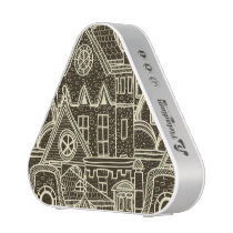 Old City sketchy pattern on dark background Bluetooth Speaker