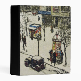Old City Street Scene in Winter Car Restaurant Mini Binder