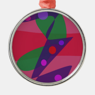 Old City Traffic Lights Round Metal Christmas Ornament