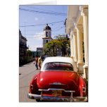 Old classic American auto in Guanabacoa a town Card