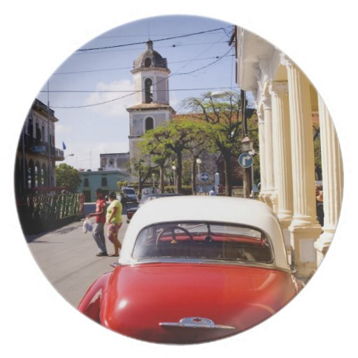 Old classic American auto in Guanabacoa a town Melamine Plate