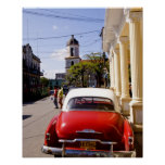 Old classic American auto in Guanabacoa a town Poster