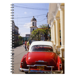 Old classic American auto in Guanabacoa a town Spiral Notebook
