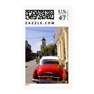 Old classic American auto in Guanabacoa a town Stamp