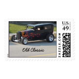 Old Classic Black Car with Flames Postage