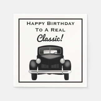 Old Classic Car Over the Hill Happy Birthday Napkin