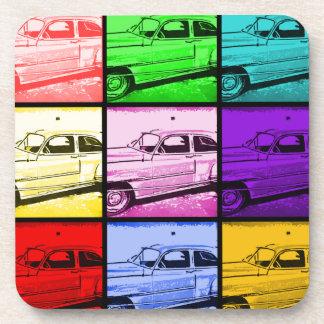 Old Classic Car Watercolor Pop Art Print Coasters