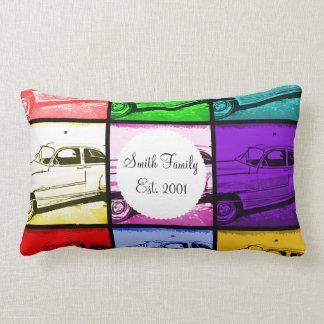 Old Classic Car Watercolor Pop Art Print Lumbar Pillow