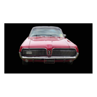 Old classic mercury cougar red front end business card