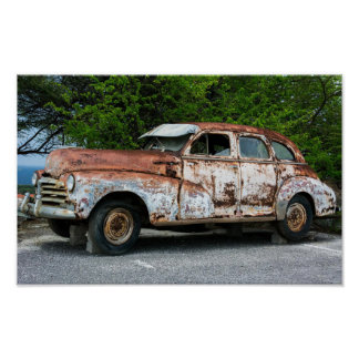 Old classic - rusty vintage car poster