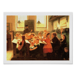 Old Classroom Scene Painting by Jacob Taanman Poster