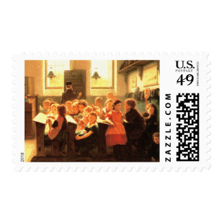 Old Classroom Scene Painting  Postage Stamps