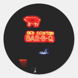 OLD CLINTON BAR-B-Q - GRAY, GEORGIA CLASSIC ROUND STICKER