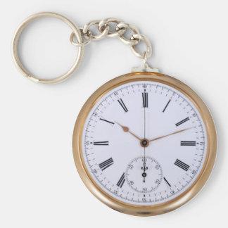 Old Clock Antique Pocket Watch Basic Round Button Keychain