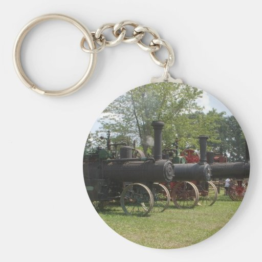 Old Coal Engine Tractors Basic Round Button Keychain