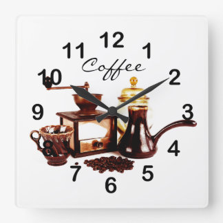 old coffee mill with coffee beans wall clock