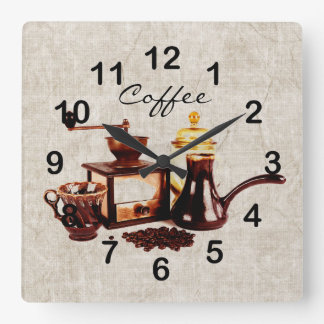 old coffee mill with coffee beans clock