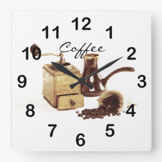 old coffee mill with coffee beans square wallclock