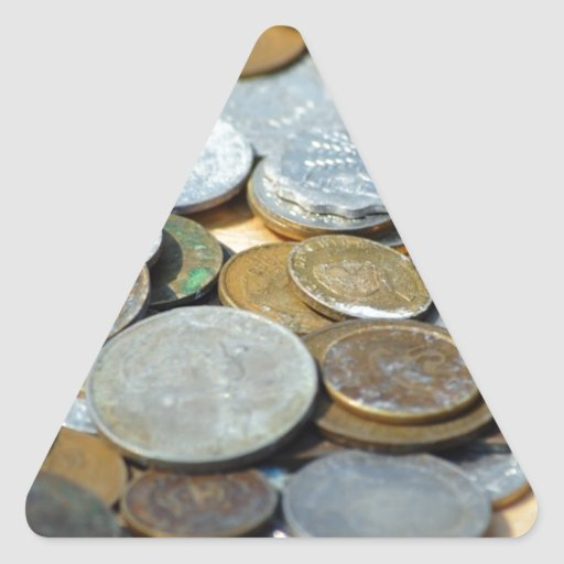 Old-coins1299 OLD COINS COPPER SILVER METAL BRONZE Triangle Stickers