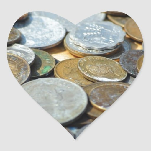 Old-coins1299 OLD COINS COPPER SILVER METAL BRONZE Heart Sticker