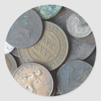 old coins mainly pennies and half pennies classic round sticker