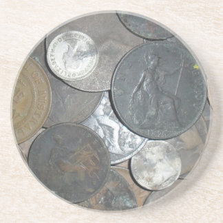 Old coins mainly pennies with age and character coaster