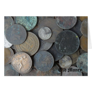 old coins pennies and half pennies photo. card